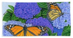 Monarch Butterflies And Hydrangeas Bath Towel