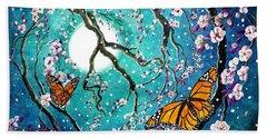 Monarch Butterflies In Teal Moonlight Hand Towel