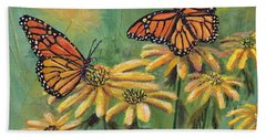 Hand Towel featuring the painting Monarch Butterflies by Lou Ann Bagnall