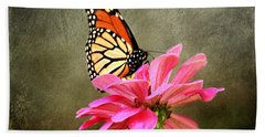 Monarch Butterfly And Pink Zinnia Bath Towel by Judy Palkimas