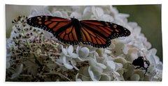 Monarch Butterfly Feeding On Hydrangea Tree Hand Towel