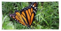 Monarch Butterfly In Lush Leaves Hand Towel