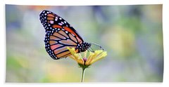 Bath Towel featuring the photograph Monarch Butterfly -  In The Garden by Kerri Farley