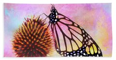 Monarch Butterfly On Coneflower Abstract Bath Towel