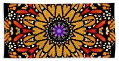 Monarch Butterfly Wings Kaleidoscope Hand Towel by Carol F Austin