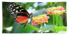 Monarch On Flower Bath Towel by Angela Murdock