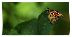 Monarch On Leaf Bath Towel by Ann Bridges