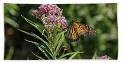 Hand Towel featuring the photograph Monarch On Milkweed by Sandy Keeton