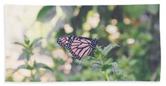 Monarch On Mint Hand Towel