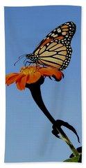 Monarch On Zinnia  Hand Towel