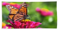 Monarch Visiting Zinnia Bath Towel