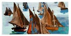 Monet Fishing Boats Calm Seas Hand Towel by Scott D Van Osdol