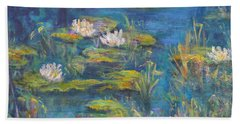Monet Style Water Lily Marsh Wetland Landscape Painting Hand Towel