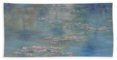 Monet Style Water Lily Peaceful Tropical Garden Painting Print Hand Towel