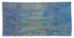 Monet Style Water Lily Pond Landscape Painting Hand Towel