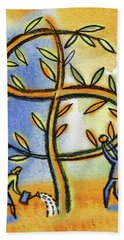 Hand Towel featuring the painting Money Tree by Leon Zernitsky