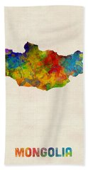 Hand Towel featuring the digital art Mongolia Watercolor Map by Michael Tompsett