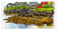 Hand Towel featuring the photograph Monhegan West Shore by Tom Cameron