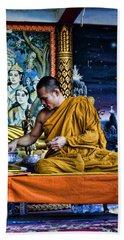 Monk At Big Buddha  Hand Towel