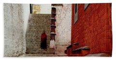 Monk In Tashilhunpo Monastery Shigatse Tibet Artmif.lv Bath Towel