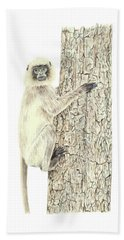 Bath Towel featuring the painting Monkey In The Tree by Elizabeth Lock