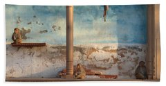 Bath Towel featuring the photograph Monkeys At Sunset by Jean luc Comperat
