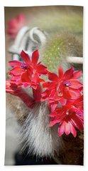 Monkey's Tail Cactus Flower Bath Towel