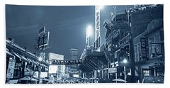Monochrome Blue Nights Boston Ma Lansdowne St Fenway Park Game Night Hand Towel