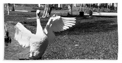 Monochrome Flapping Swan Bath Towel