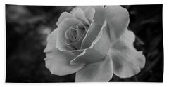 Monochrome Rose Macro Bath Towel