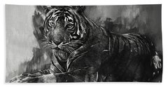 Monochrome Tiger Bath Towel by Jack Torcello