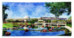 Monorail Red - Coming 'round The Bend Bath Towel by Sandy MacGowan