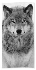 Monotone Timber Wolf  Bath Towel