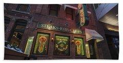 Bath Towel featuring the photograph Monroe St Steakhouse by Nicholas Grunas