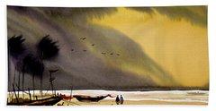 Hand Towel featuring the painting Monsoon Seashore And Fishing Boats by Samiran Sarkar