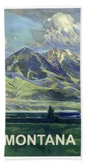 Montana, Railway, Mountains Bath Towel