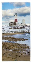 Montauk Lighthouse Winter Beach Hand Towel