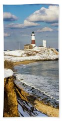 Montauk Lighthouse Winter Bluffs Hand Towel