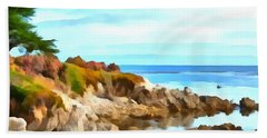 Hand Towel featuring the photograph Monterey Coastline Watercolor by Floyd Snyder