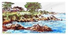 Hand Towel featuring the painting Monterey Shore by Irina Sztukowski