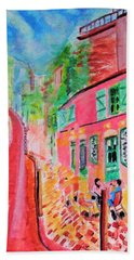 Montmartre Cafe In Paris Hand Towel
