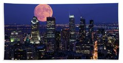 Bath Towel featuring the photograph Montreal Supermoon by Mircea Costina Photography