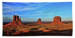 Monument Valley 20 - West Mitten , East Mitten, And Merrick Butte Sunset Hand Towel