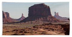 Monument Valley Man On Horse Sunrise  Hand Towel