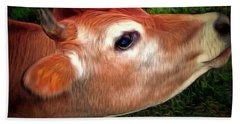 Hand Towel featuring the photograph Moo - Jersey Cow by Janine Riley