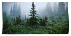 Moody Myrtle Falls Trail At Mount Rainier Bath Towel by Lynn Hopwood