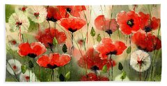 Moody Poppies In The Afternoon Hand Towel