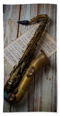 Moody Sax Hand Towel by Garry Gay