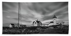 Moody Sky At Eastern Point Lighthouse Hand Towel