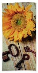 Moody Sunflower With Keys Hand Towel